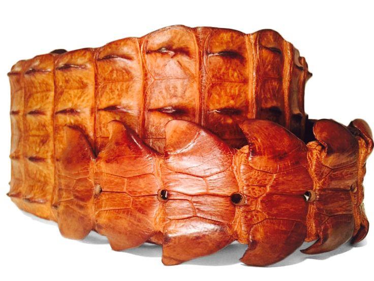 Wide Brown Croc Cinching Belt _ Crocodile Leather _ Size: 24 (US) // 54 (EU) in Belts | eBay