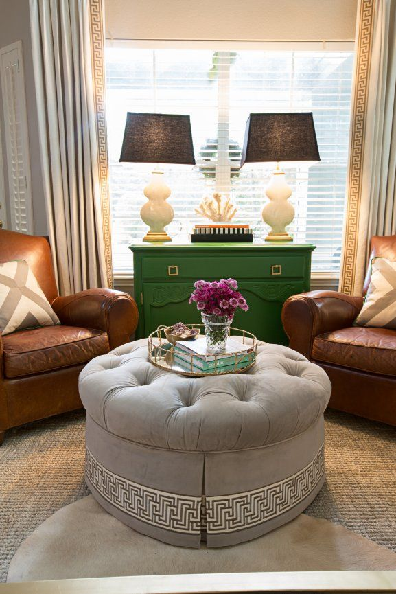 Living Room Mary McDonald Trim Round Ottoman   Masculine With Feminine  Mixed Together