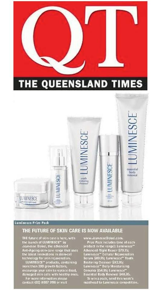 Queensland Times (8th January 2014) featured a Jeunesse® LUMINESCE™ give-away to their readership of 20,000+.