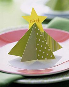 Fun Christmas tree place cards. Larger version could possibly be used for center pieces.