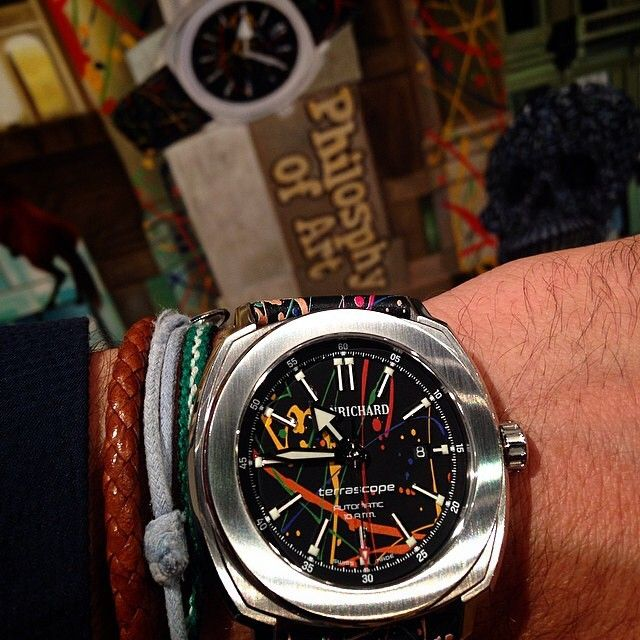 Sporting one of the Jean Richard watches Terrascope graphiscope, unveiled last Thursday.