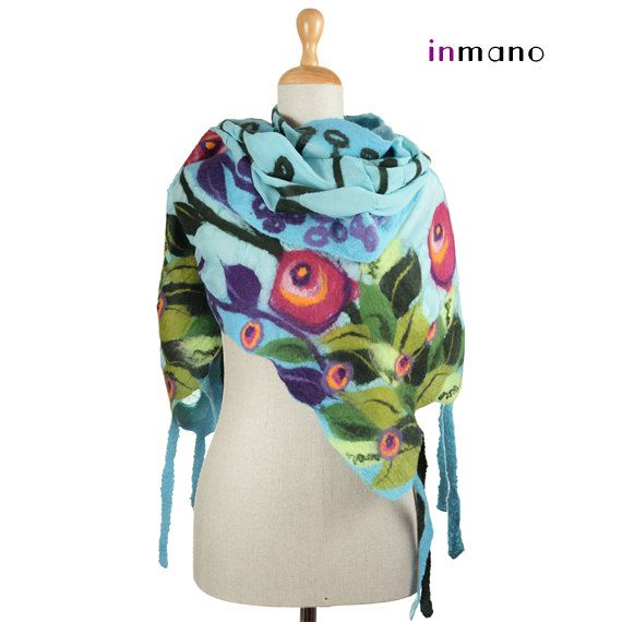 nuno felted artistic scarf turquoise spring meadow III by inmano