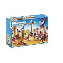 Playmobil - Camp des Indiens avec tipi - 5247  - marque : Playmobil La journée se lève au camp des Indiens et il y a fort à faire : le chef du camp invoque le grand Manitou en dansant autour du totem, le guerrier part à la chasse tandis que la ... prix : 39.99 €  chez Toys R us #Playmobil #ToysRus