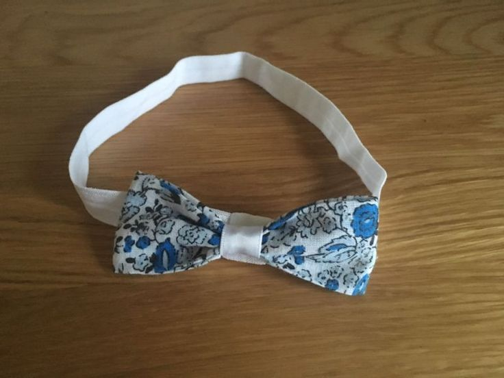 Blue Floral Baby Headband Blue  White Bow Elastic Girl Hair Accessory Exclusive