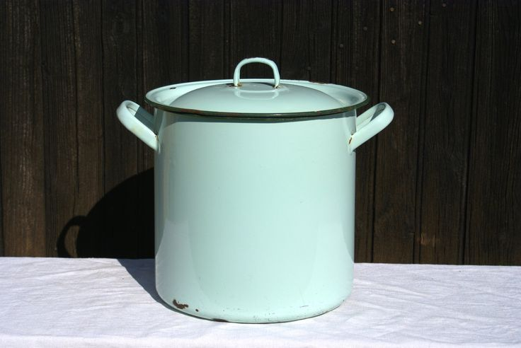 Enamelled Cook Pot / Bread Bin - Duck Egg Blue Vintage French by UneChoseFrancaise on Etsy