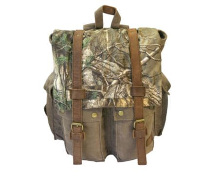 Realtree Xtra camo leather-trimmed backpack