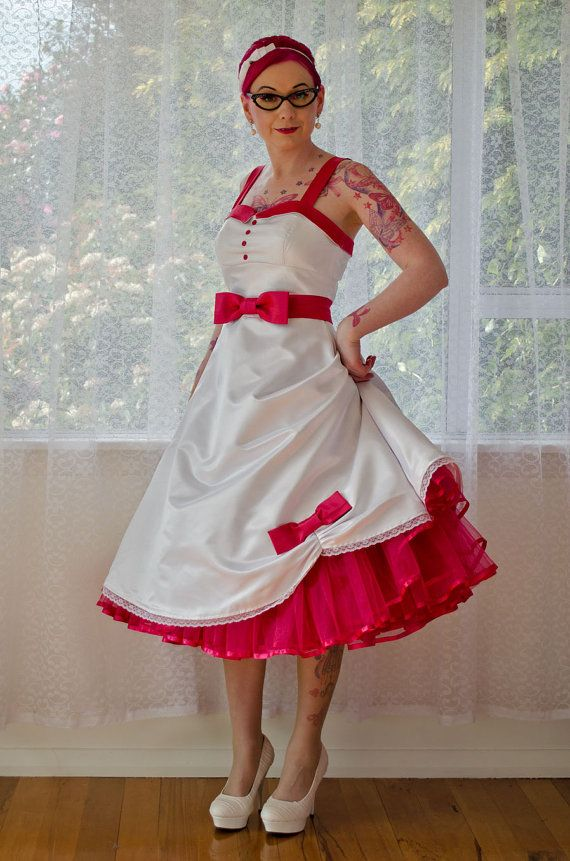 1950s 'Jacqueline' Rockabilly Wedding Dress with Bodice Lapels, Bow Belt, Tea Length Skirt & Organza Petticoat and Sash - custom made to fit...