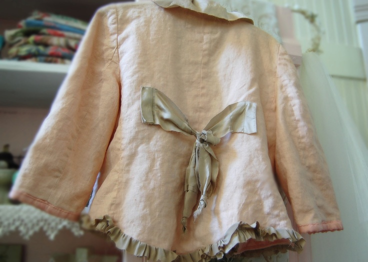 Etsy Transaction - Dusty Pink Linen Jacket Romantic Shabby Altered Clothing Eco Prairie Girl Gypsy Fairy Boho Rustic Silk Taupe Large Layers Raw Edges