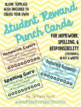 Student Reward Punch Cards