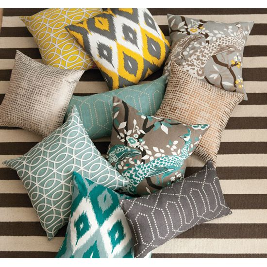 mixed print pillows grey yellow turquoise - like the color scheme for the new open concept dining, family and kitchen