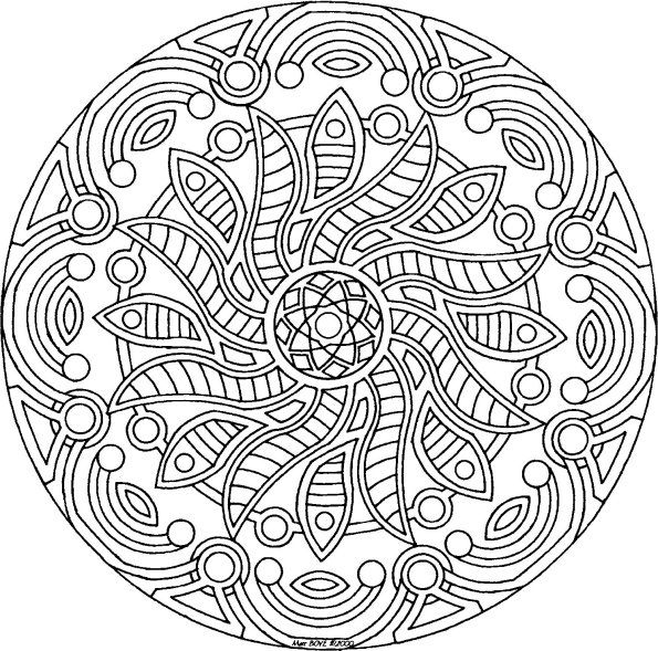 Sunflower Mandala - free coloring page