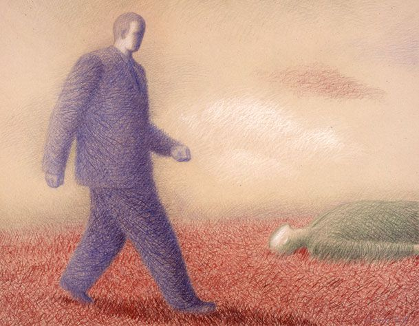 """Garif Basyrov - The Blue and Green Figures on the Red Grass (1990) From the series """"Inhabited Landscapes"""". Colored pencil on paper, 70x90 cm"""