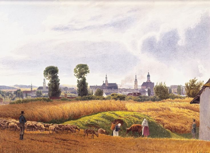 German artist Jakob Alt. The landscape - a view of Troppau