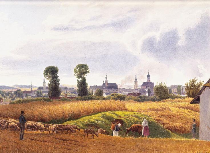 German artist Jakob Alt. The landscape - a view of Troppau