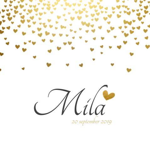 Populair geboortekaartjes met gouden hartjes - pas zelf het lettertype aan om het helemaal jouw originele geboortekaartje te maken!