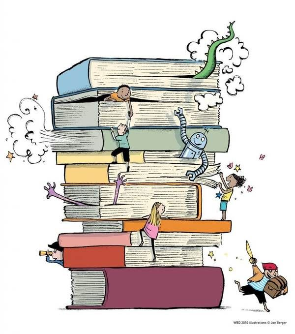 Children playing in books.