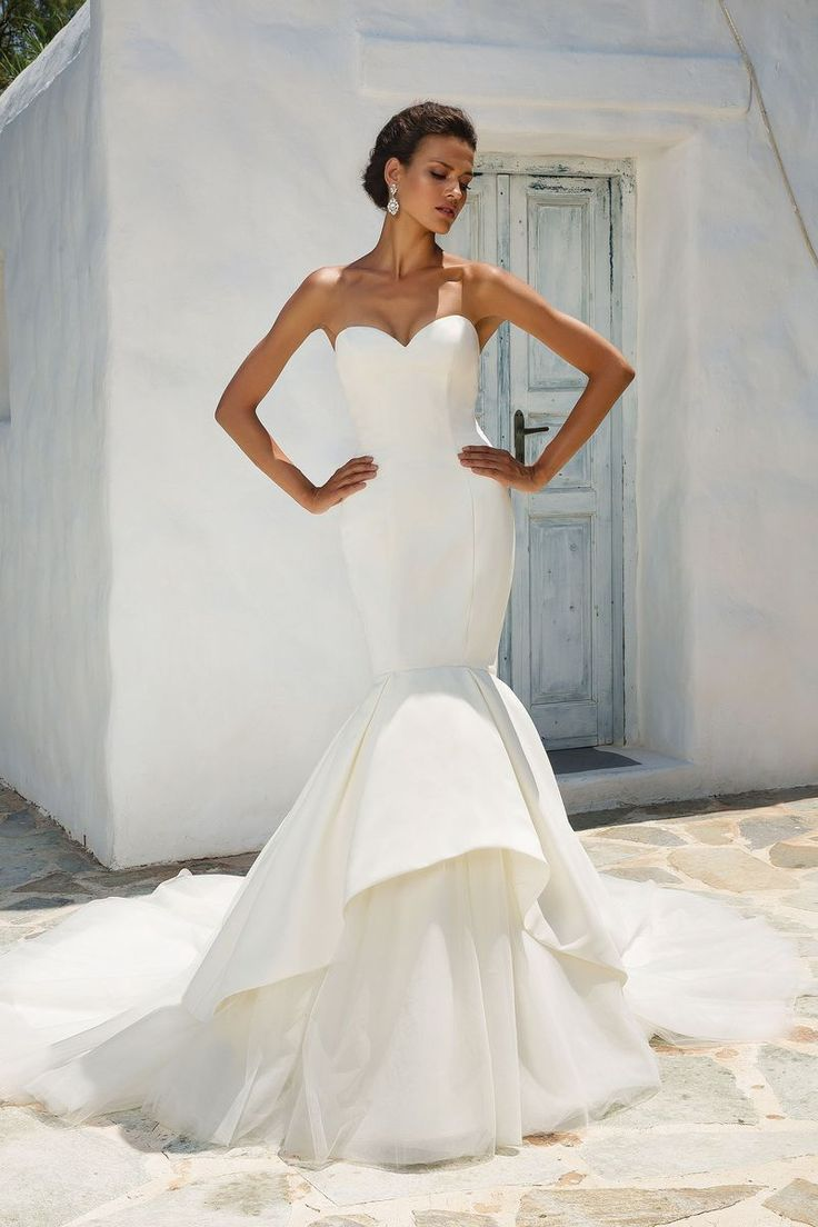 Justin Alexander - Style 8933: Satin Mermaid Wedding Dress Accented with Apron Tulle and Organza Skirt