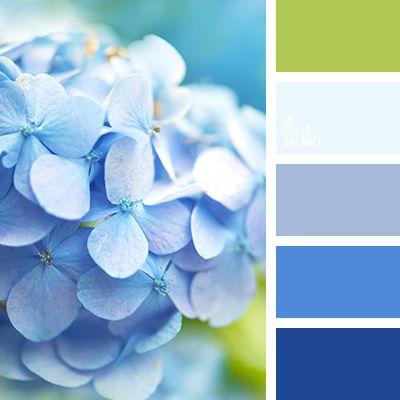 azul oscuro, azul ultramar, blanco y lila aberenjenado, celeste, color azul hortensia, paleta de colores para el hogar, tonos celestes, verde, verde amarillento claro, verde lechuga pálido, verde y añil.