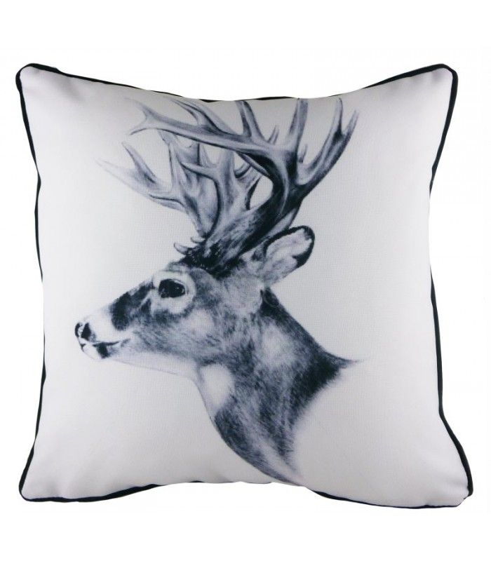 Coussin De D Coration Imprim Noir Et Blanc Cerf Black And White Cr Ation Par Evans Lichfield
