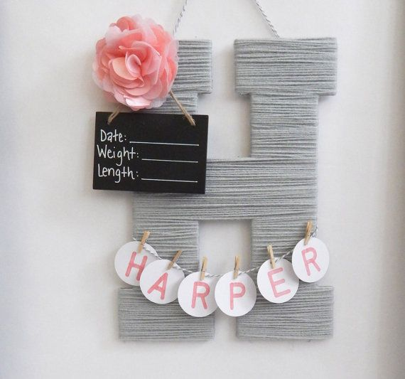 A personalized wooden letter covered in soft acrylic yarn and embellished with an item to match your babys nursery! Great to take to the hospital when you baby is born and then a keep sake to decorate their room. Each letter is 13.5 inches tall and 9 inches wide. Name is personalized to your baby and is hand drawn on white 1 inch round tags. It is then attached with small wooden clothes pins. Extra clothes pins are included just incase one of lost of broken in transporting in the mail or to…