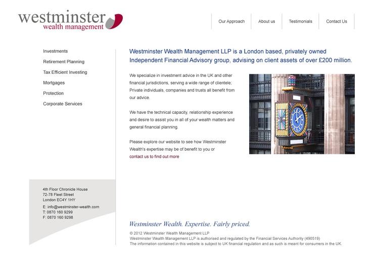 Westminster Wealth Management website