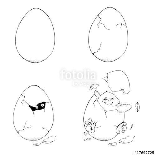 Vektor: Ei, schlüpfen, Geburt, Küken, Ostern, Huhn,