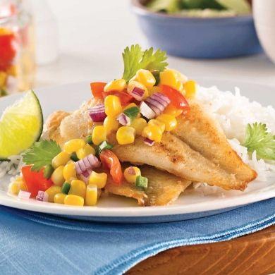Filets de sole, salsa de maïs - Soupers de semaine - Recettes 5-15 - Recettes express 5/15 - Pratico Pratiques