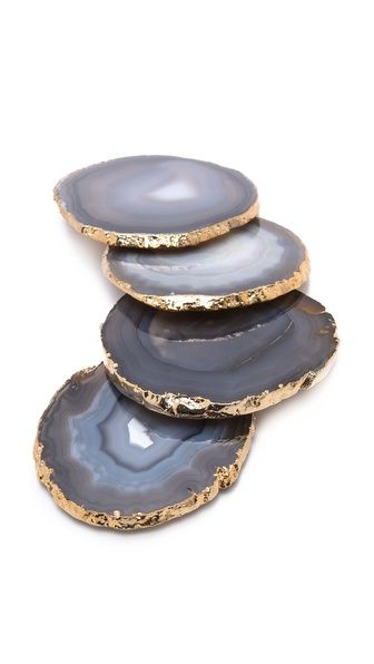 Coasters made from slices of natural agate with gold edging | $140 for set | Looking for similar ones in neutral/grey at a better price with either silver or gold edges