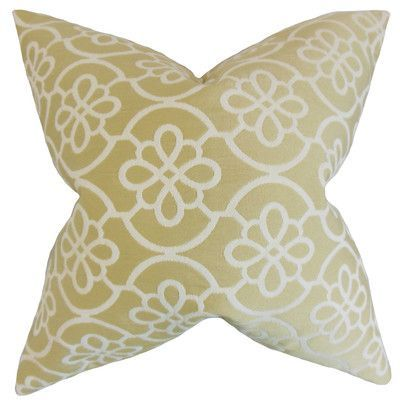 "August Grove Synthetic Throw Pillow Color: Almond, Size: 24"" x 24"""