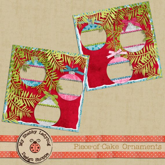 Vintage Christmas Piece-of-Cake Album Page! 2 12x12 Layouts Christmas tree and ornaments