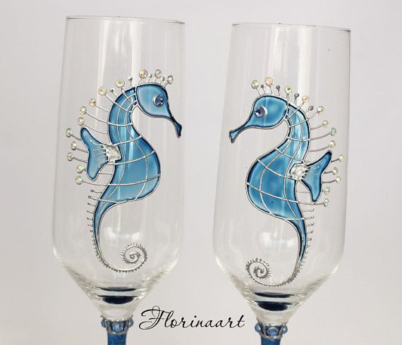 Seahorse Wedding glasses, Beach Wedding glasses, Blue wedding, Wedding toasting glasses, Beach wedding champagne glasses  Beach themed seahorse wedding glasses This set is great for a beach wedding or any other beach event Each of them can be personalized with your names or wedding date for free!  NOTICE Personalized items are not refundable or exchangeable due to the written personal text   DETAILS  Size: Height- 9.1 (23cm) 37cl Color: Silver, Blue, Pearl Materials: Glass Paints, Decorative…