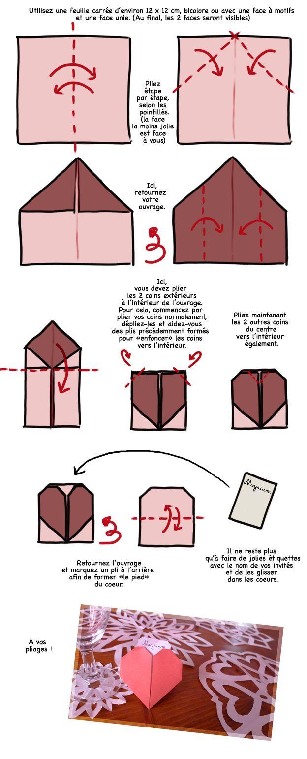 DIY marque place cœur origami // http://www.deco.fr/loisirs-creatifs/actualite-752107-diy-mariage-fabriquer-marque-places-origami.html