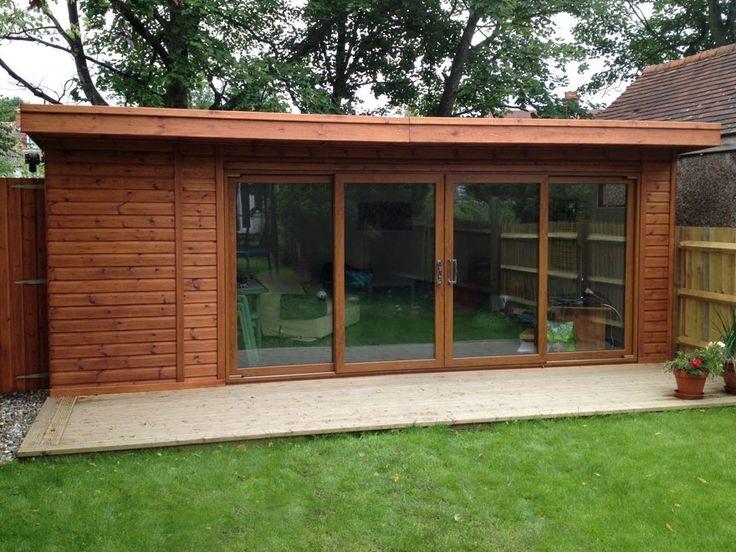 Garden Sheds Rooms sliding garden room with integrated bike store on left hand end