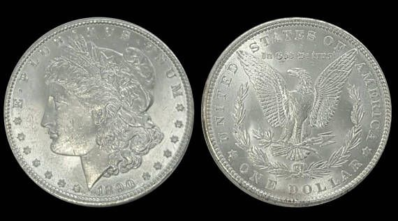Check out this item in my Etsy shop https://www.etsy.com/listing/546279463/1890-morgan-silver-dollar-lustrous-gem