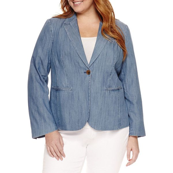 St. John's Bay Blazer-Plus - Blue - Size 1x - Women's - Blazers -... ($38) ❤ liked on Polyvore featuring plus size women's fashion, plus size clothing, plus size outerwear, plus size jackets, plus size blazers, st john's bay jacket, blazer jacket, st. john's bay, blue jackets and blue blazer