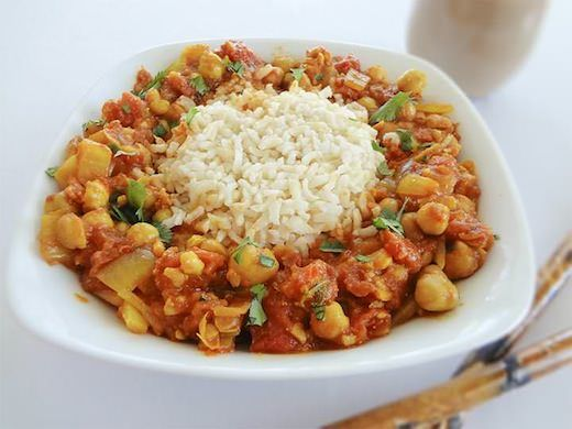 Tomato and Chickpea Curry On Rice - Vegan