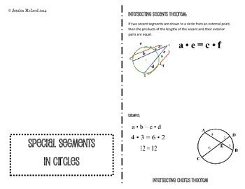 This foldable contains the following theorems with examples:--Intersecting chords theorem--Secant and Tangent Theorem--Intersecting Secants Theorem