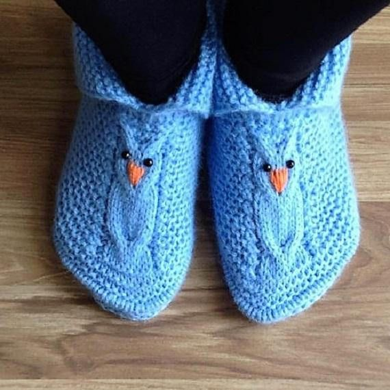 Owls blue booties for adults in stock and on orderAdult size