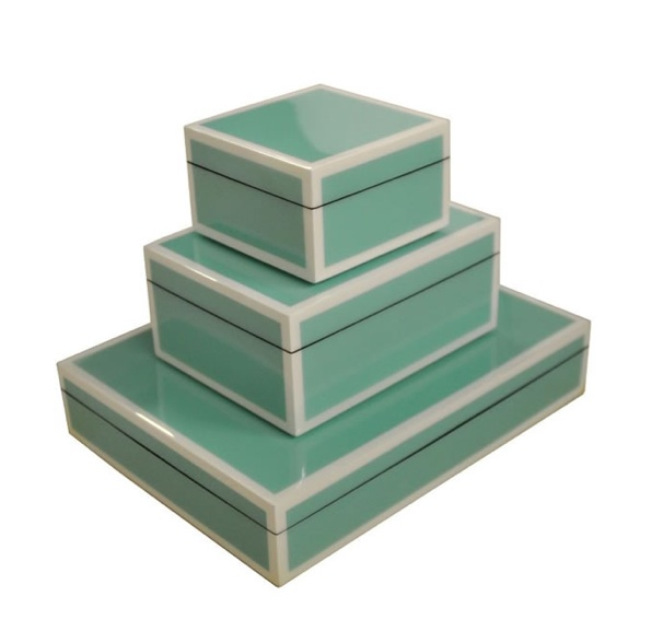 lacquered boxes from Grace Home Furnishings