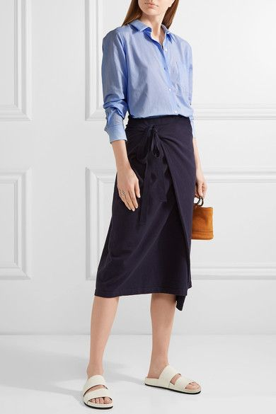 Theory - Perfect Cotton Shirt - Light blue - x small