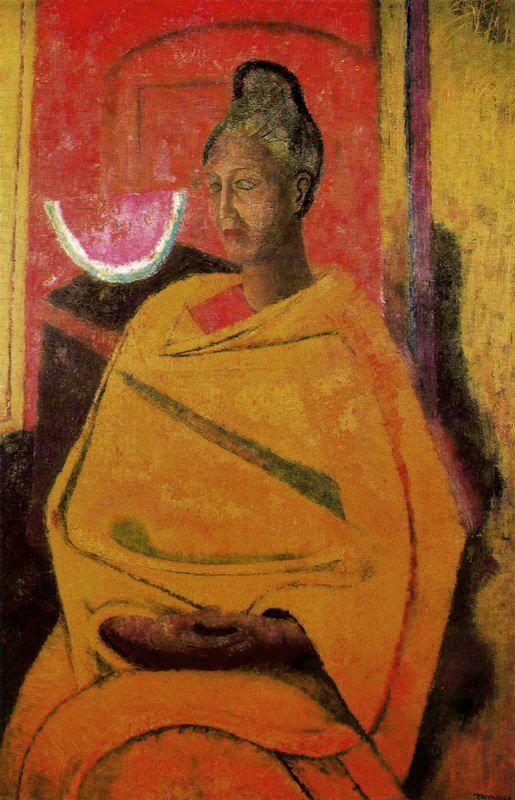'Portrait of Olga', 1964 - Rufino Tamayo.Mi Papa pinto con Rufino Tamayo en San Miguel, en el Instituto Allende,