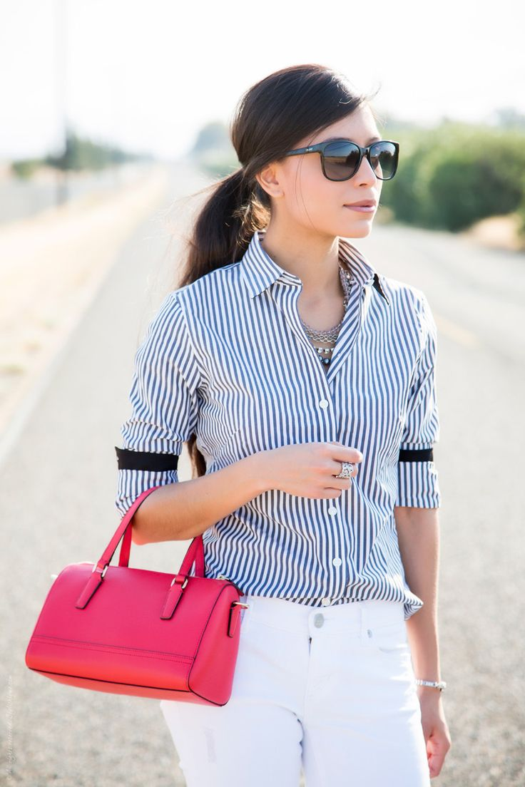 How to style a bold striped shirt and white jeans in an outfit - Visit Stylishlyme.com for more outfit photos and style tips