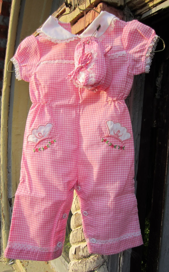 Pink Baby Gingham Jumper with matching booties by heydarlin, $13.00