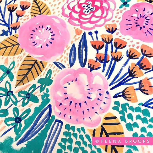 Goache #floral painting by Feena Brooks #pattern #textiles