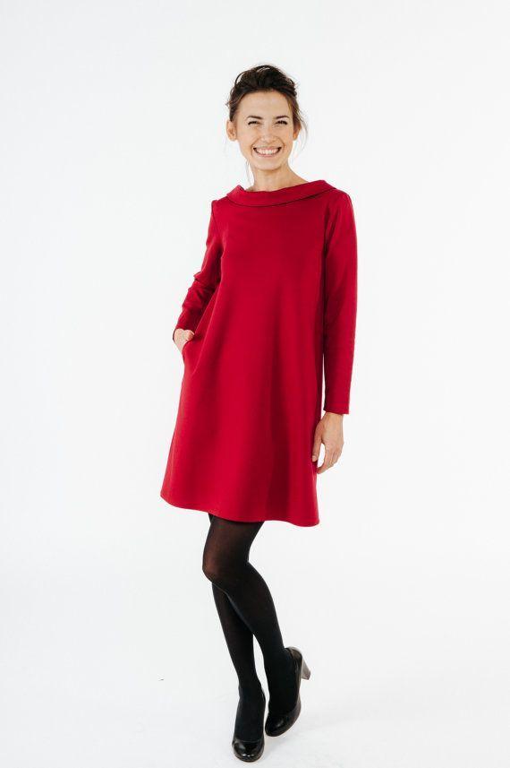 Frauen rotes Kleid, Hochzeit Gästekleid, elegantes Kleid ...
