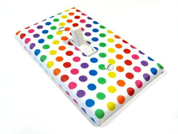Rainbow Polka Dots Light Switch Cover Rainbow Nursery Decor Kids Bedroom Decoration Home Decor