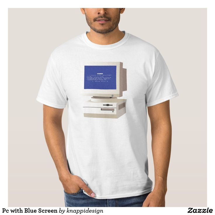 Pc with Blue Screen of death t-shirt.  #pccomputer #computer #stationarypc #pc #bluescreen #bluescreenofdeath #administration #oldschool #tshirt #computerjokes