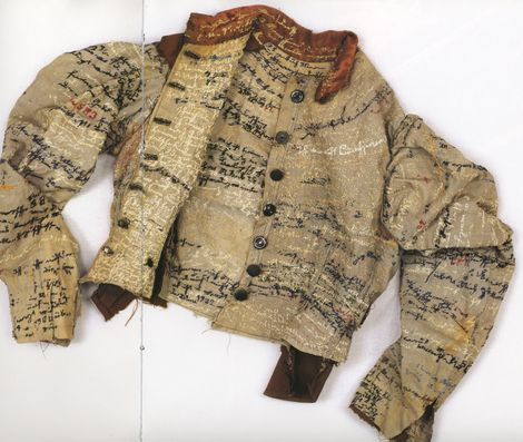 Agnes Richter- asylum embroidery jacket - the linen jacket above was made by Agnes Richter, a seamstress and patient in an Austrian asylum during the late 1800′s. She constructed the jacket from cloth typically used in the institution and embroidered her story onto the jacket.