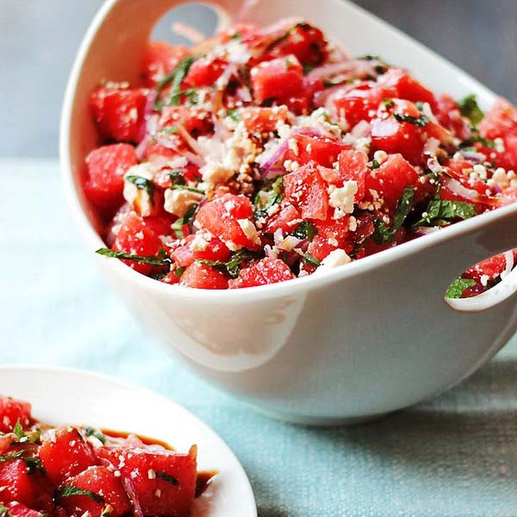 Watermelon and Feta Salad with Balsamic Reduction Recipe Salads with watermelon, purple onion, basil, mint, feta cheese, olive oil, balsamic reduction
