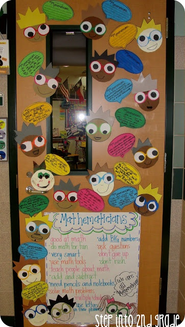 """We Are All Mathematicians"" is a fun idea for classroom door display that describes what mathematicians are like.  Students created their cartoon faces and a speech bubble that said why they were mathematicians."